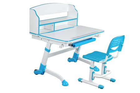 Blue school desk and blue chair stand on white isolated background Stock Photo