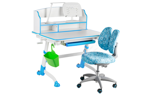 schooldesk: Blue chair, blue school table, green basket and desk lamp on the white isolated background. Stock Photo