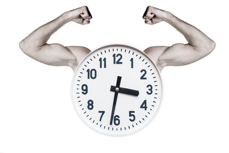round white clock with strong hands on white isolated background