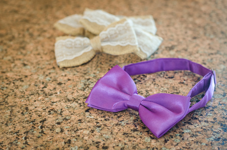 several multi-colored bow tie on the table Stock Photo