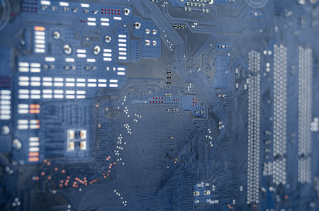 Macro shot of a dirty circuit board Stock Photo