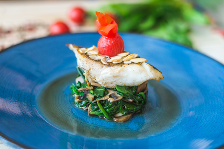 piece of fried fish with vegetables Stockfoto - 116151221