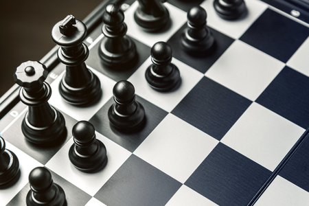 Chess board with black chess in the starting position. Horizontal frame 스톡 콘텐츠