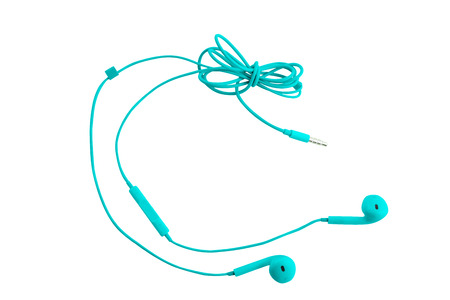 Beautiful blue headphones for smartphones, tablets, music players and a computer with a headset, on a white isolated background. Horizontal frame