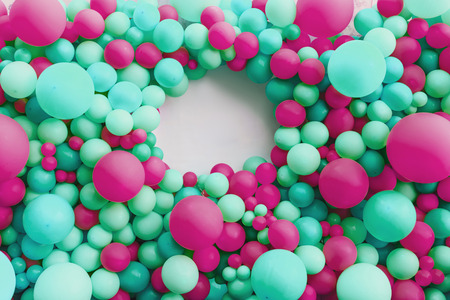 background of balloons in blue and pink. place for inscription. Horizontal frame