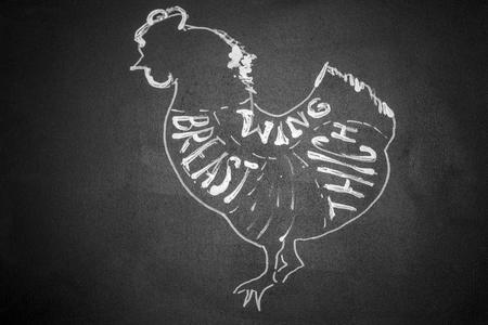 Black and white cutting scheme chicken. Horizontal frame
