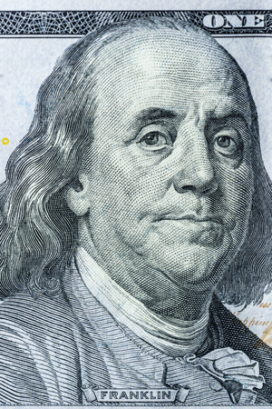 us national currency hundred dollars close up. Vertical frame Stock Photo