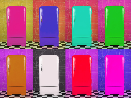 Eight old multi-colored fridges on different backgrounds. Horizontal frame