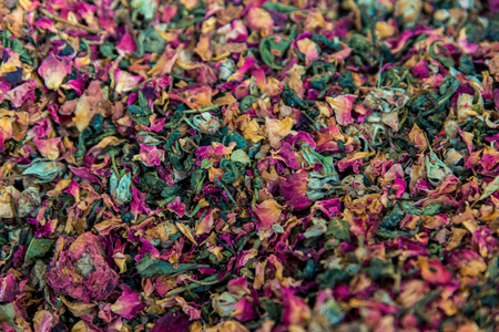 colorful dried fruit tea leaves for the whole frame. Horizontal frame Banque d'images