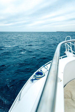Beautiful view of the blue sea from the white ship