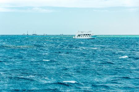 one big beautiful ship on the blue sea Stock Photo
