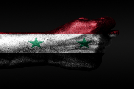 A hand with a painted Syria flag shows a fig, a sign of aggression, disagreement, a dispute on a dark background. Horizontal frame Фото со стока