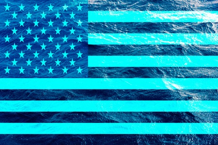 Texture of blue water with the US flag on top. Horizontal frame