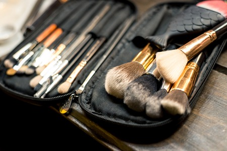 Many makeup brushes are in the case. Horizontal frame