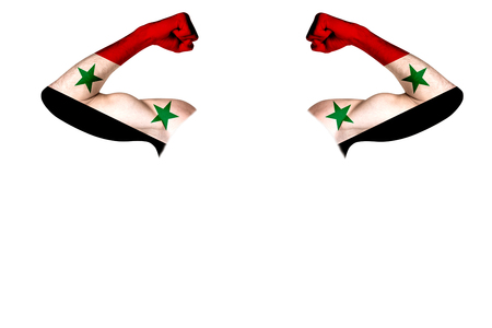 Two carved hands with a painted flag of Syria show muscles as a sign of strength, strength and readiness to fight on a white background. Horizontal frame