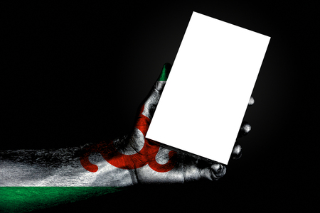 hand with painted flag Ingushetia holding a large white sheet with space for an inscription, mock up. Horizontal frame