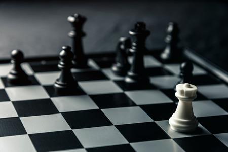 Chess board. White rook threatens black opponents chess. Horizontal frame Stok Fotoğraf