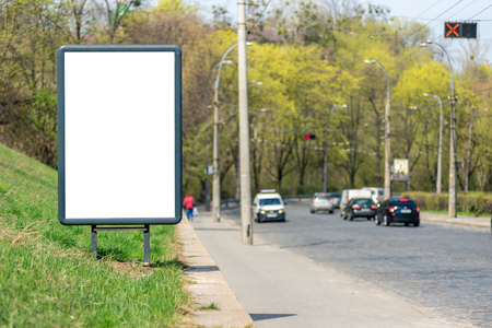 Vertical blank white billboard with place for text or mock up. Horizontal frame
