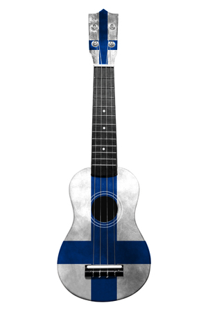 Hawaiian national guitar, ukulele, with a painted Finland flag, on a white isolated background, as a symbol of folk art or a national song. Vertical frame
