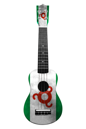 Hawaiian national guitar, ukulele, with a painted Ingushetia flag, on a white isolated background, as a symbol of folk art or a national song. Vertical frame