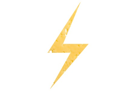 The symbol of lightning cut out of cheese, as a sign of dangerous food, sanctions on a white isolated background. Horizontal frame
