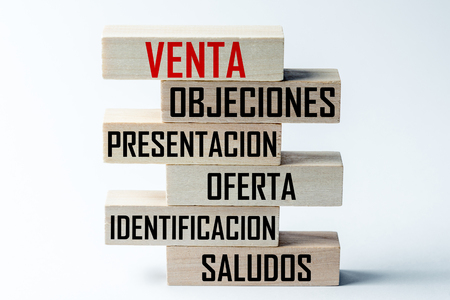 A list of wooden blocks lying on top of each other with a list of sales techniques in Spanish, in the translation of the word: sale, objections, presentation, sentence, identification, greeting