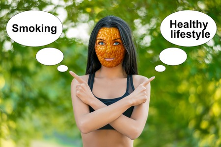 young girl with orange peel skin, bad skin sign, shows the words