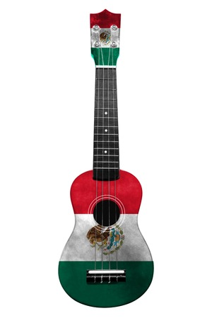 Hawaiian national guitar, ukulele, with a painted Mexico flag, on a white isolated background, as a symbol of folk art or a national song. Vertical frame