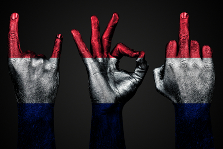 a set of three hands with a painted flag France show middle finger, goat and Okay, a sign of aggression, protest and approval on a dark background. Horizontal frame