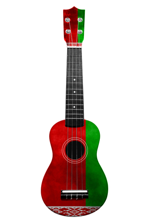 Hawaiian national guitar, ukulele, with a painted Belarus flag, on a white isolated background, as a symbol of folk art or a national song. Vertical frame