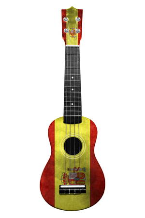 Hawaiian national guitar, ukulele, with a painted Spain flag, on a white isolated background, as a symbol of folk art or a national song. Vertical frame