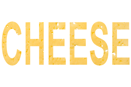 Cheese word cut out of cheese, isolated on white background. Horizontal frame