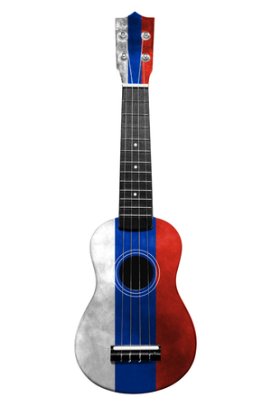 Hawaiian national guitar, ukulele, with a painted Russia flag, on a white isolated background, as a symbol of folk art or a national song. Vertical frame