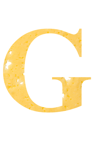 The letter G of cheese with holes on a white isolated background, the symbol of proper nutrition and the alphabet. Vertical frame Stockfoto
