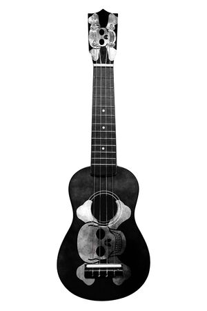Hawaiian national guitar, ukulele, with a painted pirates flag, on a white isolated background, as a symbol of folk art or a national song. Vertical frame