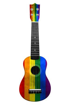 Hawaiian national guitar, ukulele, with a painted LGBT flag, on a white isolated background, as a symbol of folk art or a national song. Vertical frame