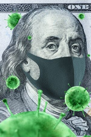The national currency of the United States is 100 dollars in a medical mask, with green bacteria. Vertical frame