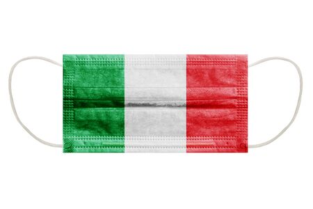 Virus mask with flag of italy on isolated white background. Symbol of protection against coronavirus infection.
