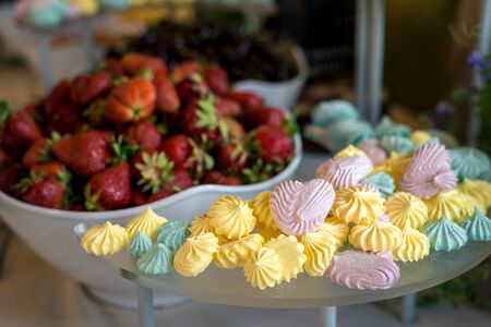 multi-colored marshmallows lies on a plate on a background of strawberries.