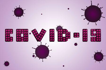Inscription COVID-19 made from purple pills and coronavirus bacteria on the background. 免版税图像