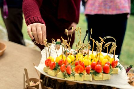 Many different vegetable canapes for the whole frame. 免版税图像