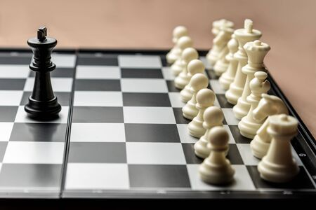 chess black king stands opposite the white chess opponent. Symbol of leadership and confrontation. 免版税图像