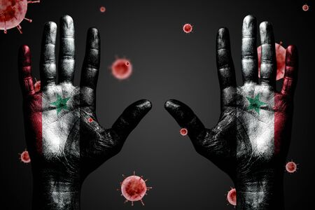 Danger concept from coronavirus, arms up with Syria flag and flying bacteria Covid-19, on dark isolated background. 免版税图像