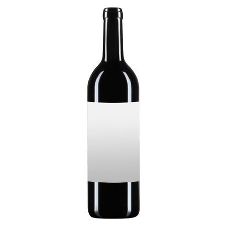 Empty glass wine or champagne bottle with white label for mockup, on white isolated background.