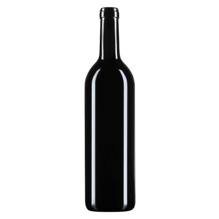Empty glass bottle for wine or champagne, on a white isolated background.