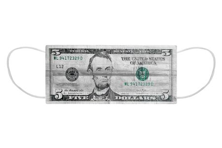 Mask from a virus with a drawn 5 dollar bill, on a white isolated background. 免版税图像 - 148798520