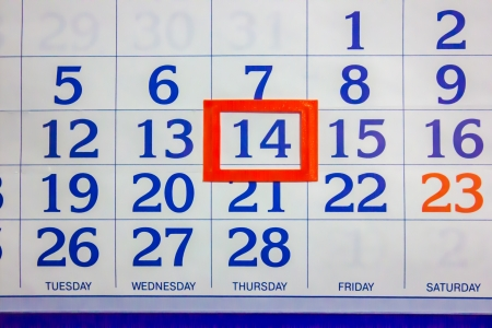 14 the number on the calendar Stock Photo
