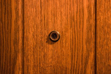 Door Peephole In The Front Door Stock Photo   78666986