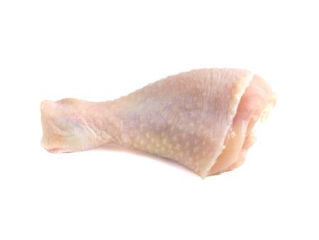 Raw chicken leg close-up. Raw chicken leg isolated on white background.