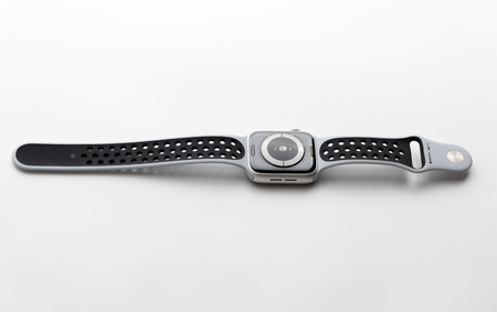 Rostov-on-Don, Russia - December 2018. Apple Watch Nike +Silver Aluminum Case with Pure Platinum on a white background. New watches from the company APPLE close up on a white background. Editorial